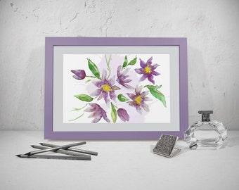 Wall art print. Watercolor floral digital print. Watercolor room decor.  Lavender wall digital print.