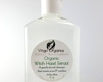 Organic Witch Hazel Extract / Facial Cleanser / Acne Fighter / Vegan / Gluten Free