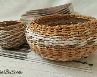 Woven Basket set of 2 Paper Anniversary Gift Handmade Fruit Sweets Basket Wicker Pot