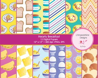 Hearty Breakfast, Omelette, Waffle, Croissant, Cheese, Lemonade, Eggs, Breakfast, Clipart, Digital Paper, Scrapbook, Collage, Commercial use