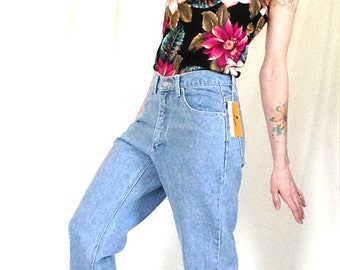 NEVER WORN, With Tags, 90s Jeans, Size 8 6 4, Size Medium, New Vintage Jeans, High Waisted, Straight Leg, Light Blue, Deadstock