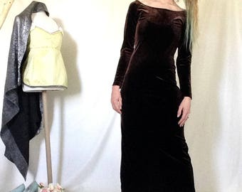 90s Velvet Dress, Size Small, Brown Velvet Dress, Long Sleeve Velvet, Velvet Maxi Dress, Velvet Slit Dress, Boatneck Dress, Back Slit Dress