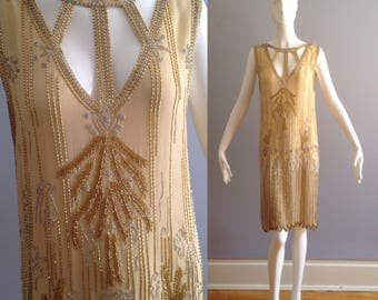 Vintage 1920s Beaded Flapper Dress ~ Sheer Silk Cutout Drop Waist Heavy Sequin FRINGE Skirt ~ Deco Couture Museum Quality Collectors Dress