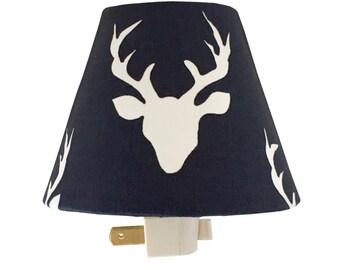 Woodland Deer  Night Light-Baby Boy-Navy Night Light-Nursery Night Light-Hello Bear Buck Forest Twilight-Boy room-Wall Decor