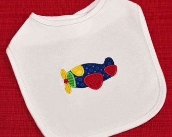 Baby boy applique airplane bib