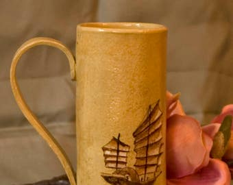 "Large cup/""bark and pulling geese""/stoneware/handmade/single piece"