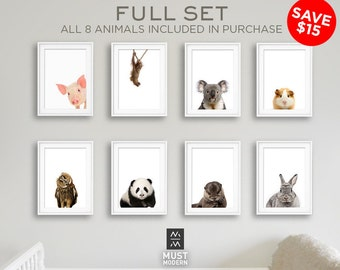 FULL SET of 8 Animals, Bundle & Save, Nursery art, Nursery Animal print set, PRINTABLE art, Baby Animals, Nursery decor, Modern Nursery