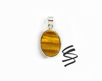 Tiger's Eye Silver Pendant Tigers Eye Stone Sterling Silver Jewelry Tiger's Eye Necklace Silver Necklace Silver Jewelry Tigers Eye Jewelry