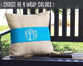 Wedding Gift Idea for Bride and Groom, Gift for Couple Pillow, Monogram Throw Pillow, Personalized Rustic Home Decor, Teal Blue, 510681131