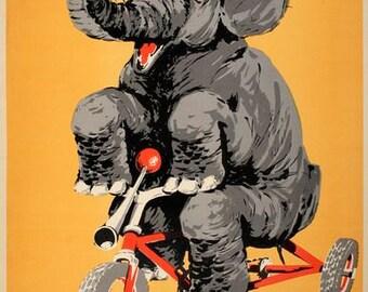 Vintage German Circus Elephant Poster  A3 Print
