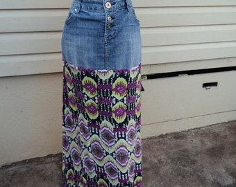 Upcycled recycled repurposed hippie boho maxi denim skirt Size 14