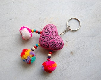 Pink Embroidered Heart Pom Pom Hmong Zipper Charm Keychain