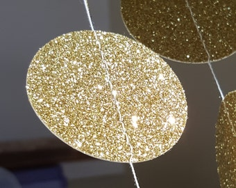 Gold Glitter Garland|Gold Decor|Baby Shower Garland|Gold Bridal Shower|Gold Wedding Garland| Gold Engagement|Circle Garland| Paper Garland|