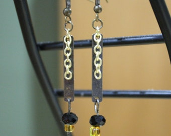 Art Deco-Inspired Dangle Earrings with Black and Gold Beads (Bronze finish)/ Antique Gold Plate with gold chain, black and yellow beads