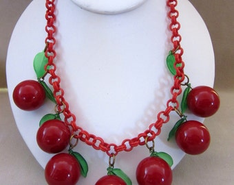 Fabulous Vintage Celluloid Cherry and Leaf Necklace, Large Cherries