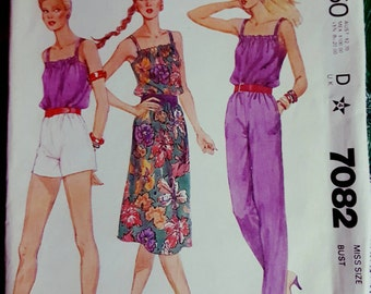 1980 McCall's 7082 Misses Dress, Top, Pants and Shorts Size 8 UNCUT FF Sewing Pattern ReTrO Summer!