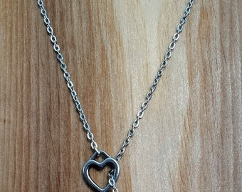 Heart Key Lariat Necklace, Adjustable Chain Necklace, Skeleton Key Necklace, Lariat Necklace, Adjustable Necklace, Chain Necklace
