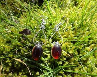 Garnet Earrings, Silver 925