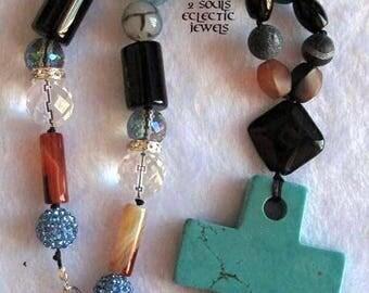 Semi-precious Gemstone Statement Necklace Cross Pendant Aquamarine Gemstones Agate Druzy Howlite Crystals Shamballa