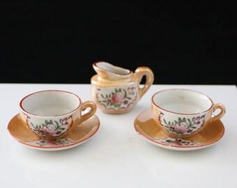 Vintage Lusterware Childs Tea Set with Flowers