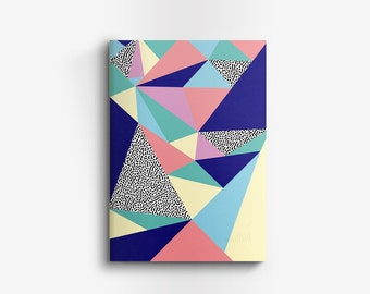 """Notebook with geometric patterns, Memphis patterns, """"Babel"""" 11,5 x 17 cm, 60 sheets, handmade in France"""