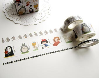 Totoro Washi Tape, Totoro Stickers, Studio Ghibli Stickers, Kawaii Japanese Planner Tape (KA-118)
