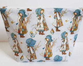 Holly Hobby Project Bag, Knitting Bag, Crochet bag, Zipper Pouch, Makeup Bag, Cotton Bag, Toiletry Bag, Art Supply bag, Craft bag,