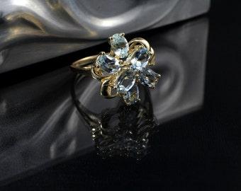 Multi Stone Aquamarine & 10k Gold Cluster Ring, Size 8 3/4, Estate Colored Gem and Gold Ring, 6 Stone Aquamarine Gold Ring,  4.01 Grams