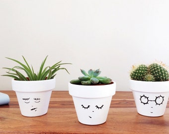 Face Planter - Hygge Decor - Three Succulent Planters - House Plant - Mini Cactus Planter - Air Plant - Scandinavian - Wedding Favour