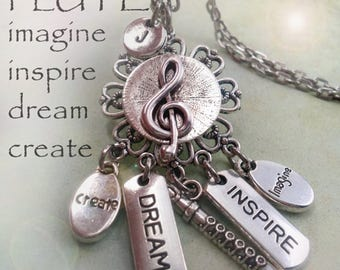 Flute Necklace w-Letter Charm of Your Choice, Birthday Gift, Flute Player Gift, I Love Flutes! Dream Inspire Create Imagine, Flutist Gift