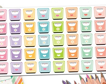 40 Bathroom Scale Stickers | Weight Tracker | Weight Loss Stickers | Weight Loss Planner Stickers | Weight Stickers | Fits Erin Condren More
