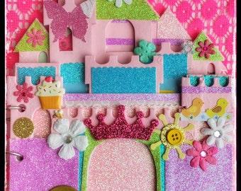 Sandcastle Album, Personalized Scrapbooks, Baby Girl Gifts, Gifts for Baby Girl, Baby Scrapbook Album, Baby Girl Memory book, Baby Keepsake!