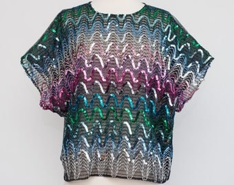 Vintage Sheer Black Boxy Top with Multi-colored Sequins and Silver Back 1980s