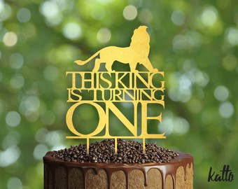 This King is Turning One Birthday Cake Topper- Customizable Birthday Cake Topper-Lion Cake Topper-Silhouette Lion Cake Topper Christmas Gift