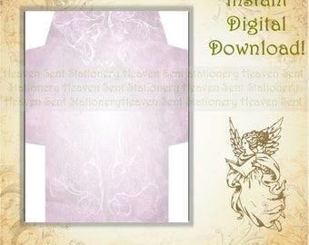 Purple Envelope, Lavender Envelope, Printable Envelope, Digital Download Envelope, Digital Envelope, Envelope Page, Stationery Paper