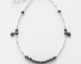 Ankle Bracelet  Hematite stars