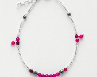 Ankle Bracelet fuschia Agate