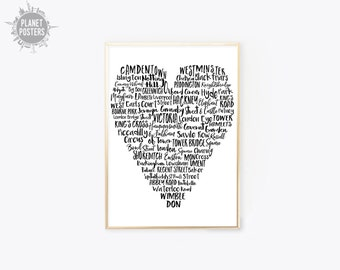 8 COLORS London Quirky Typographic Heart - Typographic London Camden Waterloo Poster Print Wall Art Decor