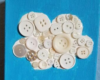 Baby White Button Cloud Nursery Art