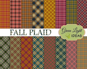 Fall Plaid Digital Paper Pack, Autumn Plaid Tartan Digital Papers, Thanksgiving Digital Paper, Plaid Digital Background, Plaid Pattern Paper