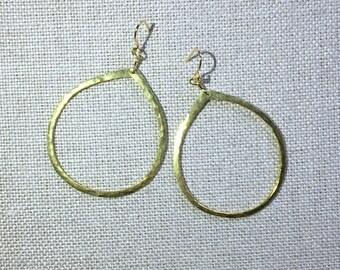 OLIVE and GREEN Big Teardop Hammered Gold Tone Hoop New Years Eve Earrings Handmade Geometric Modern Hanging Earrings Boho OLIVEandGREEN