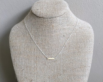 12K Gold and Sterling Silver Simple Bar Necklace Handmade Hammered Unique Bridesmaid Gifts OLIVEandGREEN OLIVE and GREEN