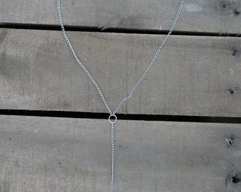 Silver Chain Anchor Y Necklace