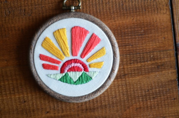 """Sunrise embroidery hoop art in 3"""" hoop. Home decor; embroidered art; bold sun rays and fields design"""