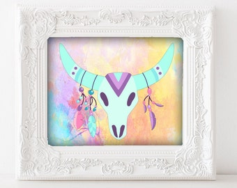 Deer Skull Art - Pastel Art Print, Rainbow Boho Art, Boho Artwork, Bright Colors, Pink, Aqua, Purple, Bohemian Art Print, Digital Boho Art