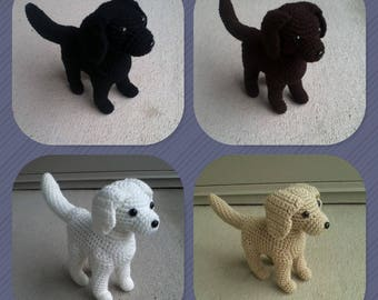 Plush Crochet Labrador Retriever Dog (Black, Brown, Gold & White)