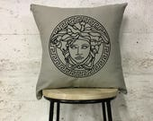 Cream and Black Medusa Head Designer Pillow Cushion Birthday Present Chanel Designer Style High Fashion