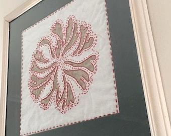 Framed handmade textile art