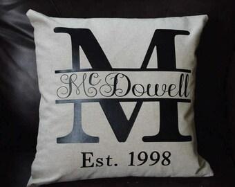 Custom Monogram Pillow Cover, Last Name Pillow Cover, Initial Pillow Cover, Linen Pillow Cover, Wedding Pillow Cover, Throw Pillow Covers