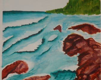 Surf and shore watercolor painting